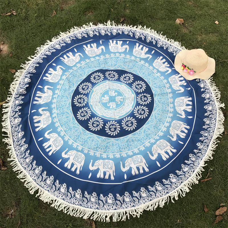 d99bac607acda Beach Mat Indian Mandala Tapestry With Tassels, Flower Elephant Printed  Bohemian ...